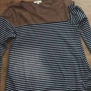 Umgee Navy Striped Tunic with Faux Suede